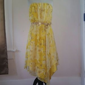 VINCE CAMUTO Yellow Strapless Dress